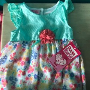 Turquoise Blue and  Floral Bubble Dress